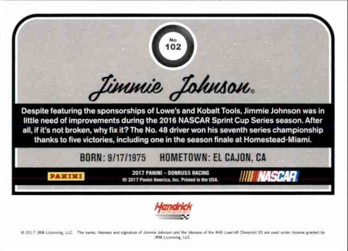 2017 Donruss Jimmie Johnson #102 card back image