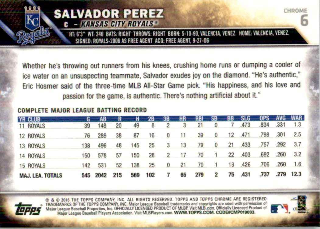 2016 Topps Chrome Salvador Perez #6 card back image