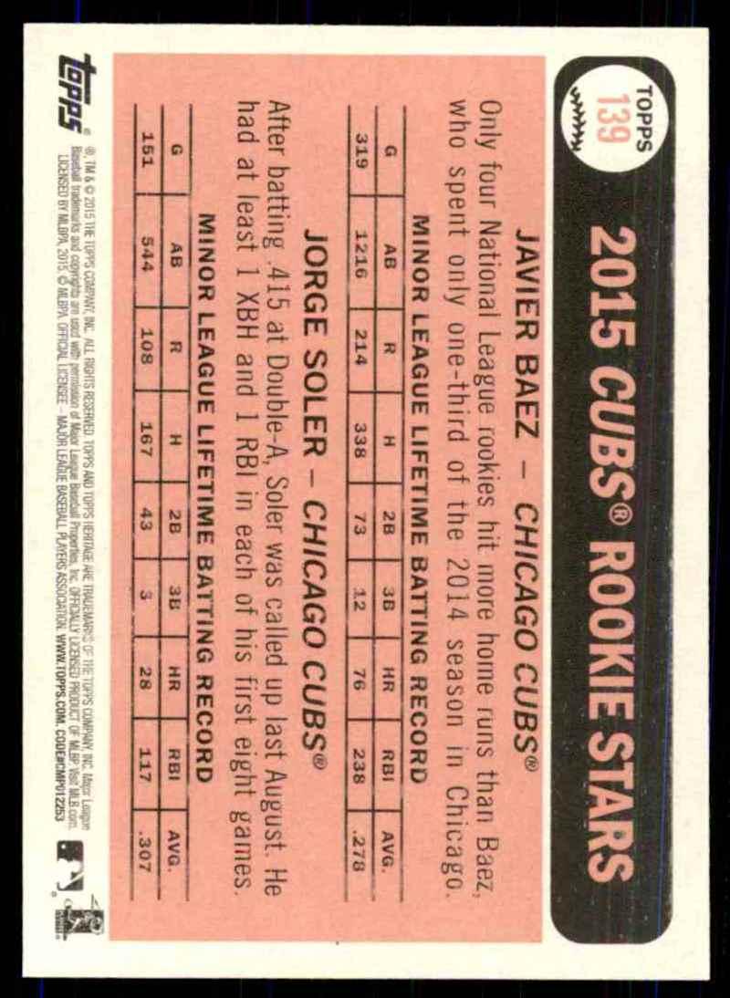 2015 Topps Heritage Jorge Soler RC/Javier Baez RC #139 card back image
