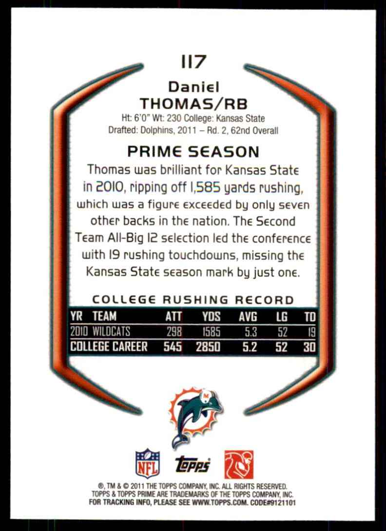 2011 Topps Prime Blue Daniel Thomas #117 card back image