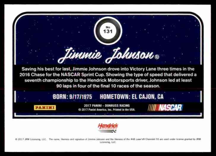 2017 Donruss Jimmie Johnson #131 card back image