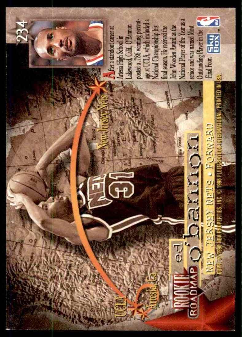 1995-96 Skybox Premium Ed O'Bannon RC #234 card back image