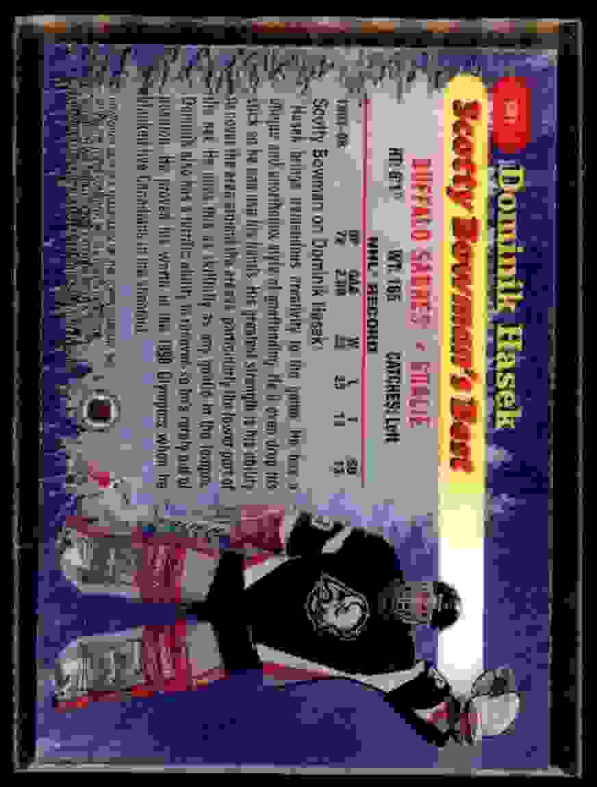 1998-99 Bowman's Best Scotty Bowman's Best Dominik Hasek #SB1 card back image