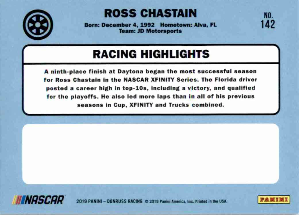 2019 Donruss Ross Chastain Retro #142 card back image