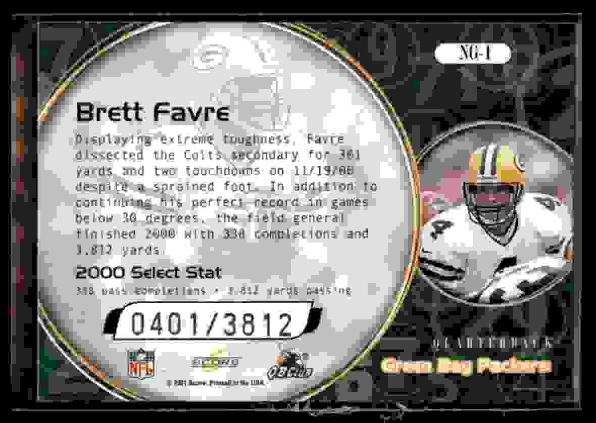 2001 Score Numbers Game Brett Favre #NG1 card back image