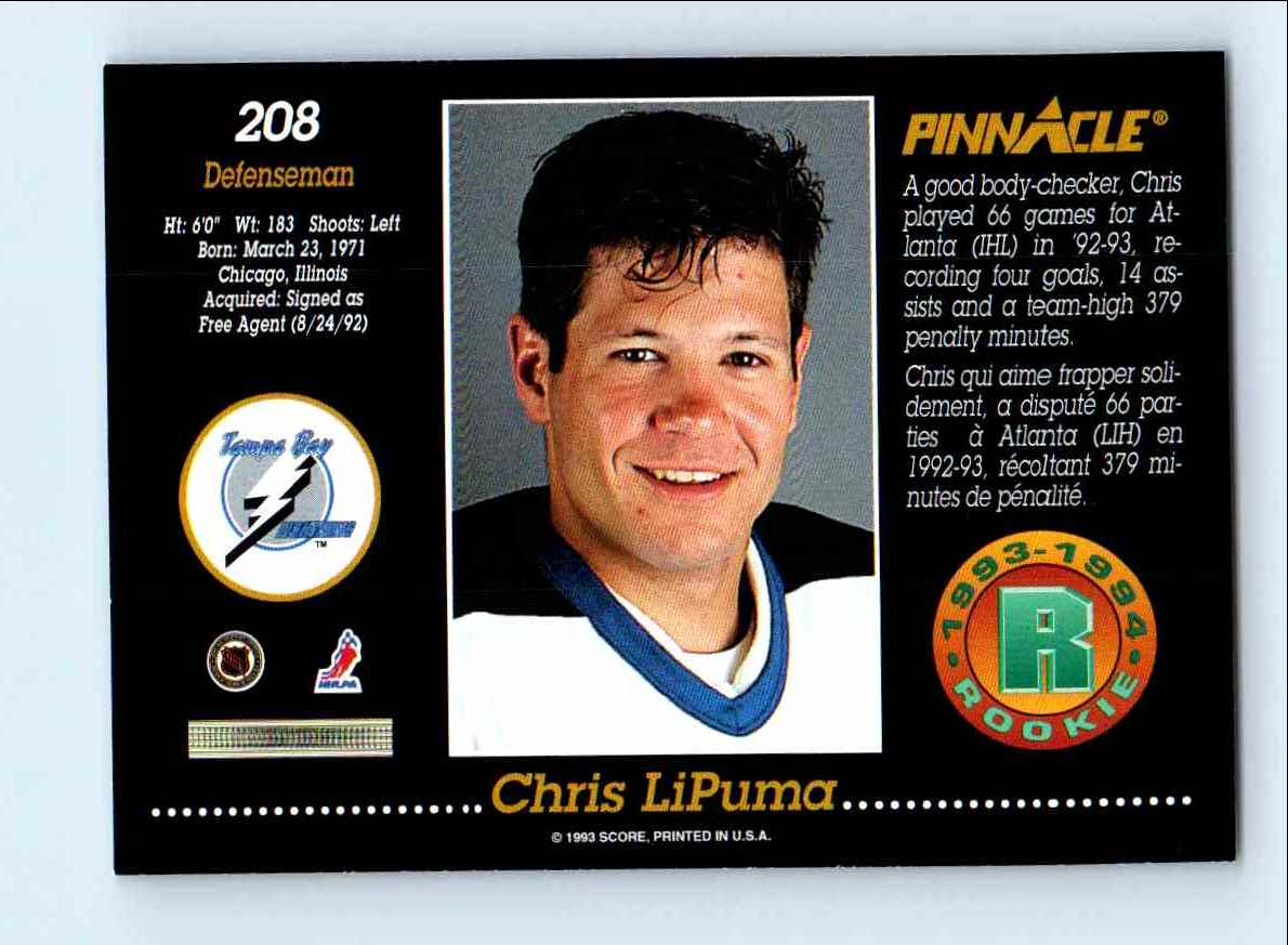 1993-94 Pinnacle Rookie Chris Lipuma #208 card back image