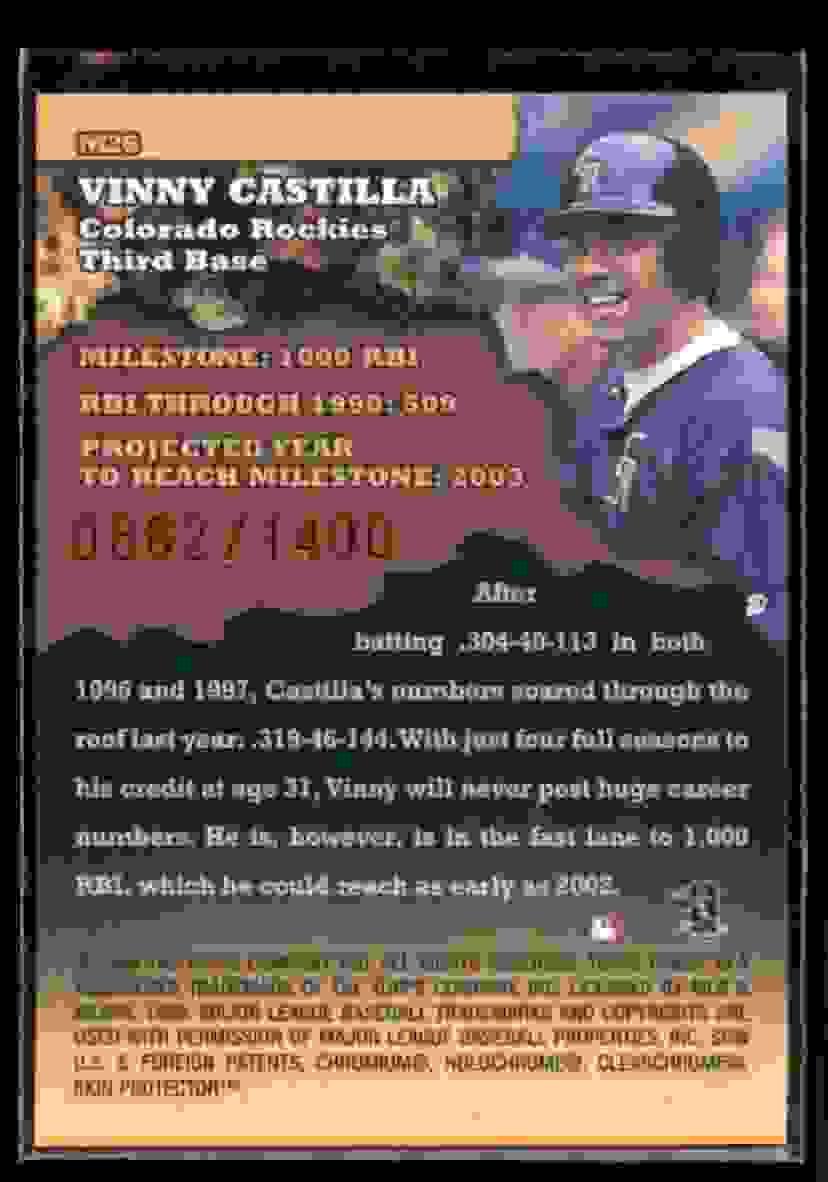 1999 Finest Milestones Vinny Castilla #M26 card back image