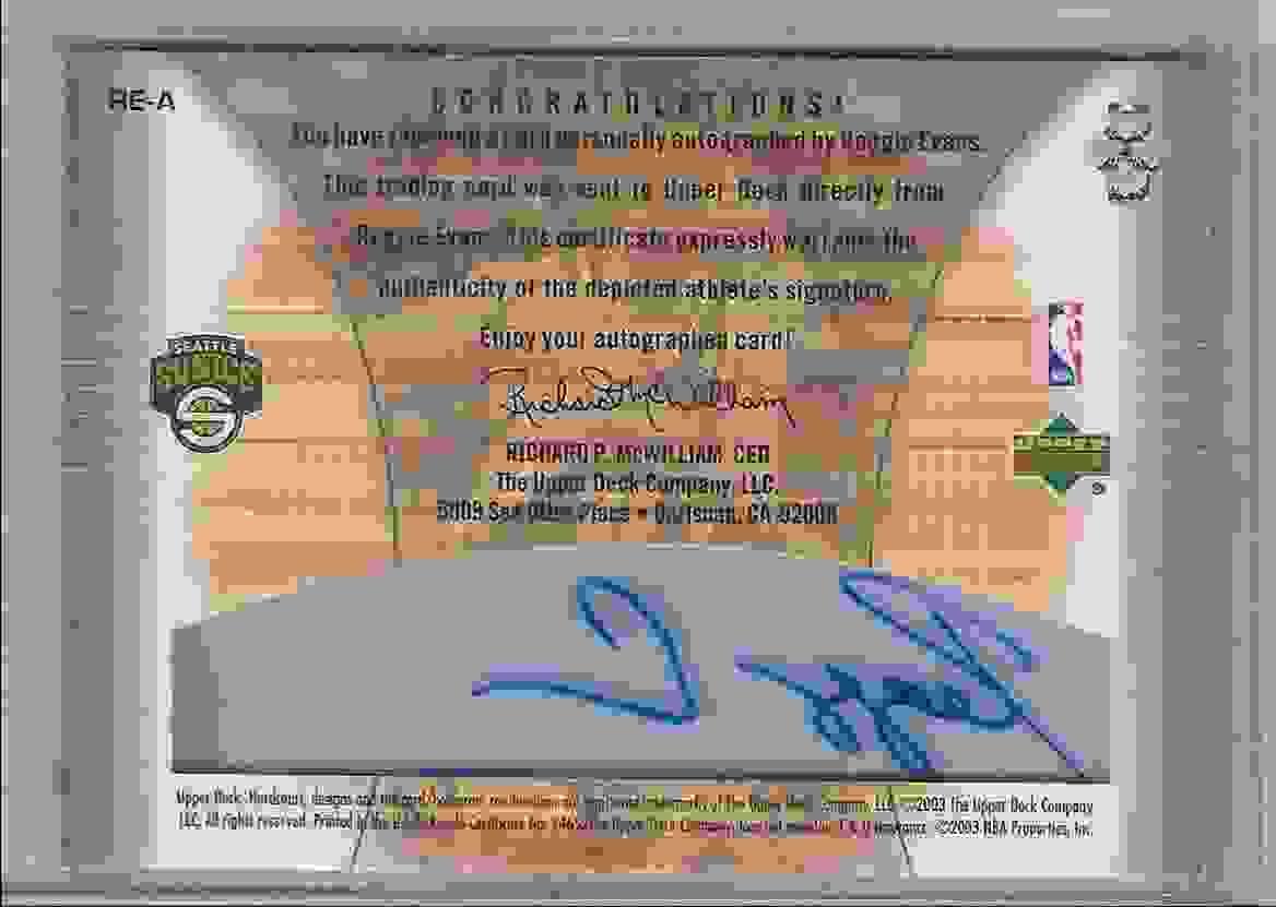 2003-04 Upper Deck Hardcourt Clear Commemoratives Reggie Evans #REA card back image