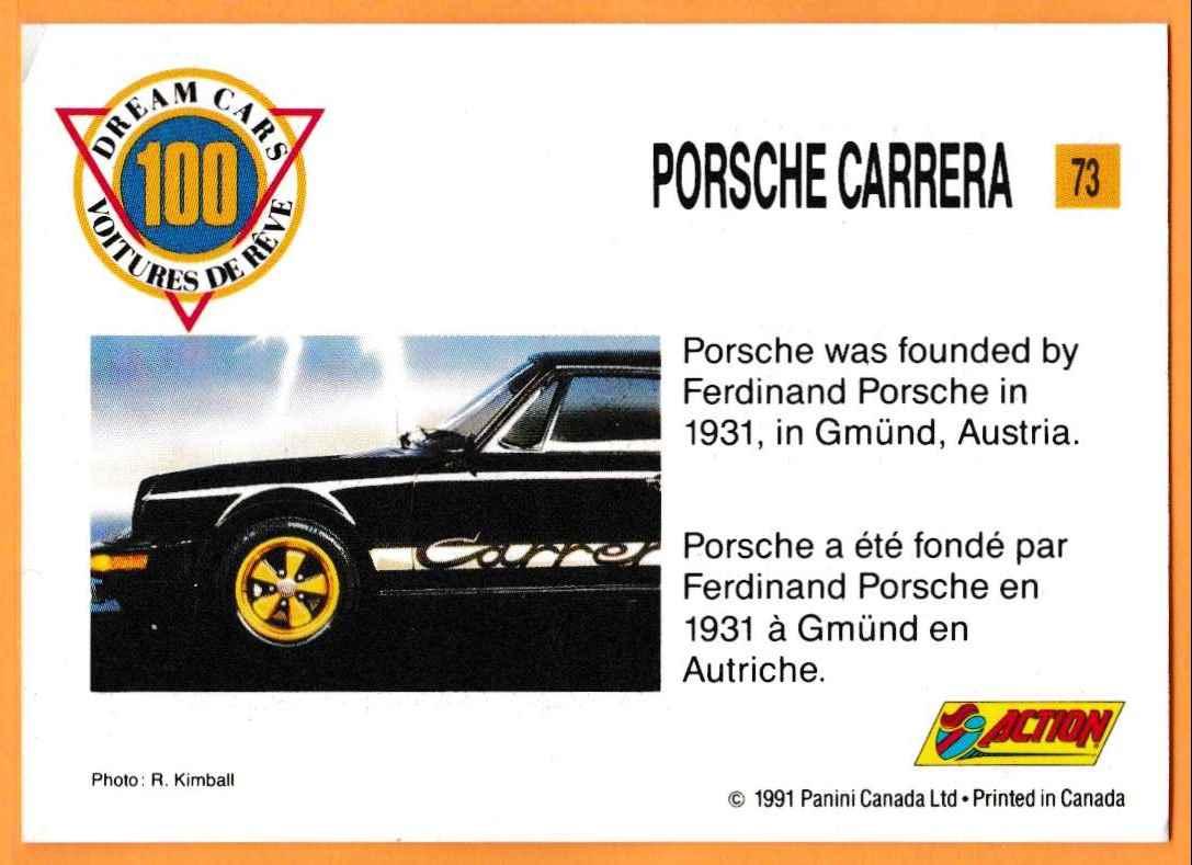 1991 Vintage Sports Cars Vintage Sports Cars Porsche Carrera #73 card back image