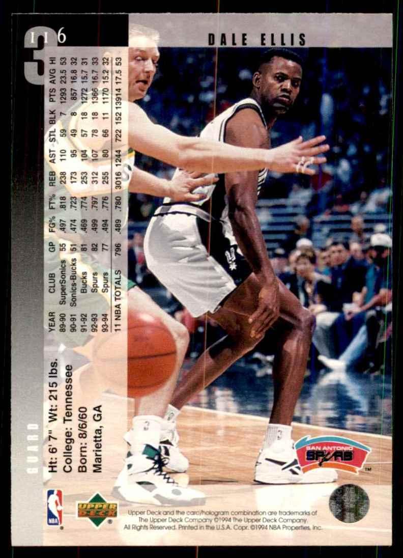 1994-95 Upper Deck Dale Ellis #116 card back image