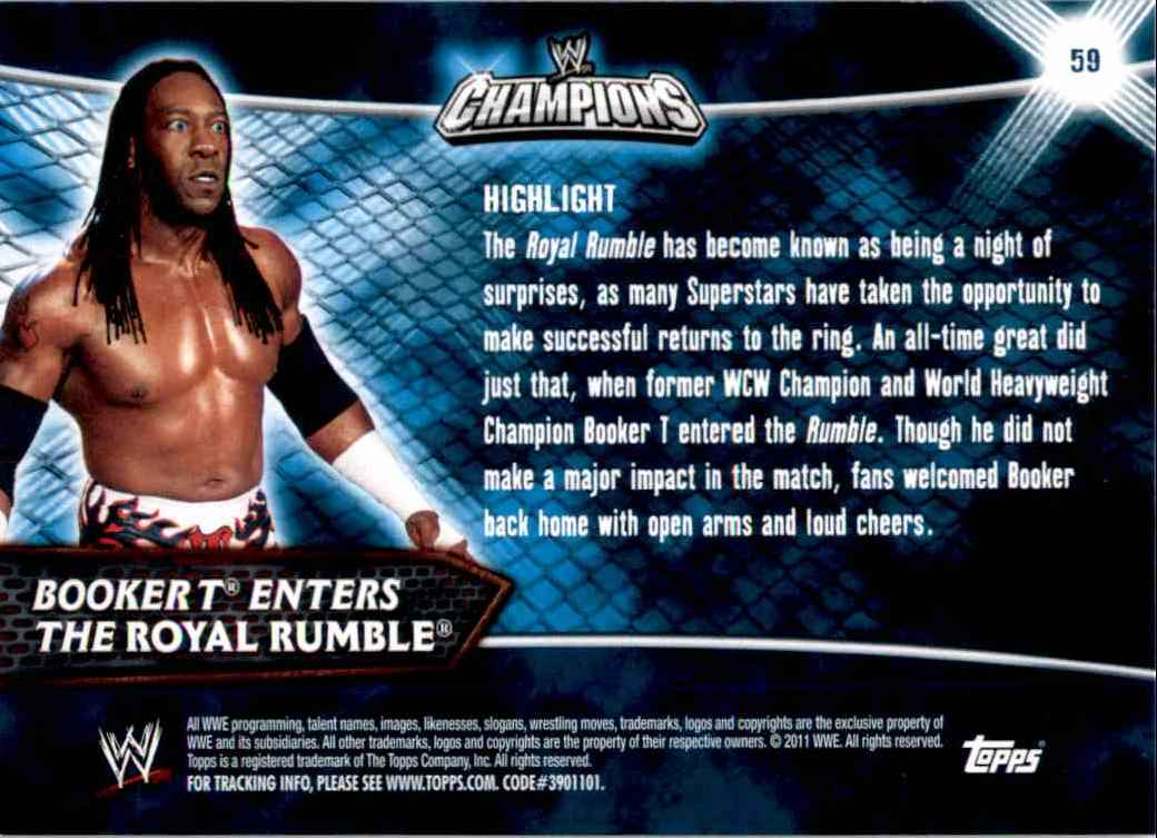 2011 Topps Wwe Champions Booker T Enters The Royal Rumble #59 card back image