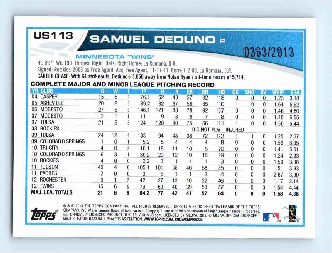 2013 Topps Update Gold Samuel Deduno #US113 card back image