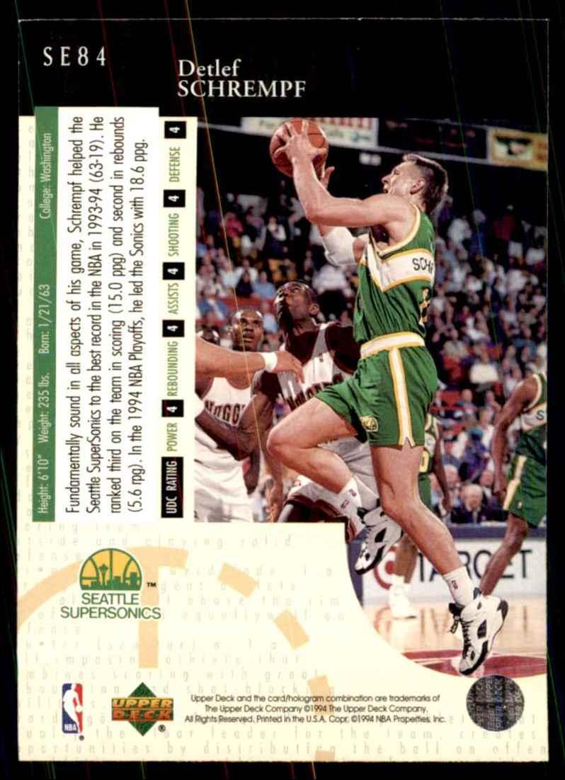 1994-95 Upper Deck Special Edition Detlef Schrempf #84 card back image