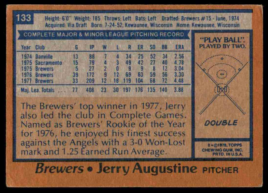 1978 Topps Jerry Augustine #133 card back image
