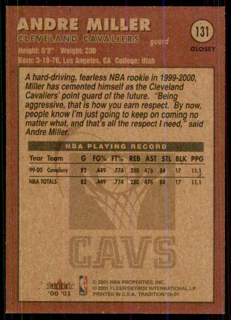 2000-01 Fleer Glossy Andre Miller #131 card back image