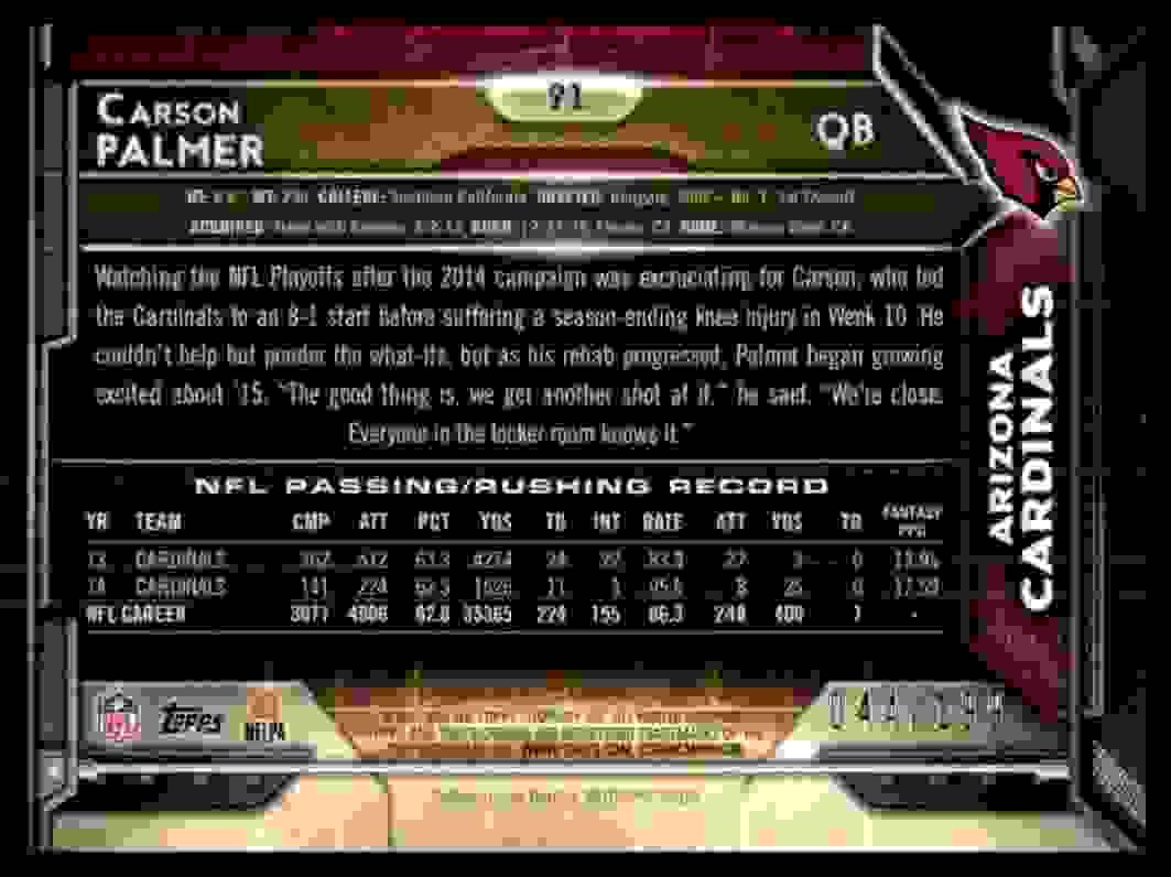 2015 Topps  Chrome Carson Palmer card back image