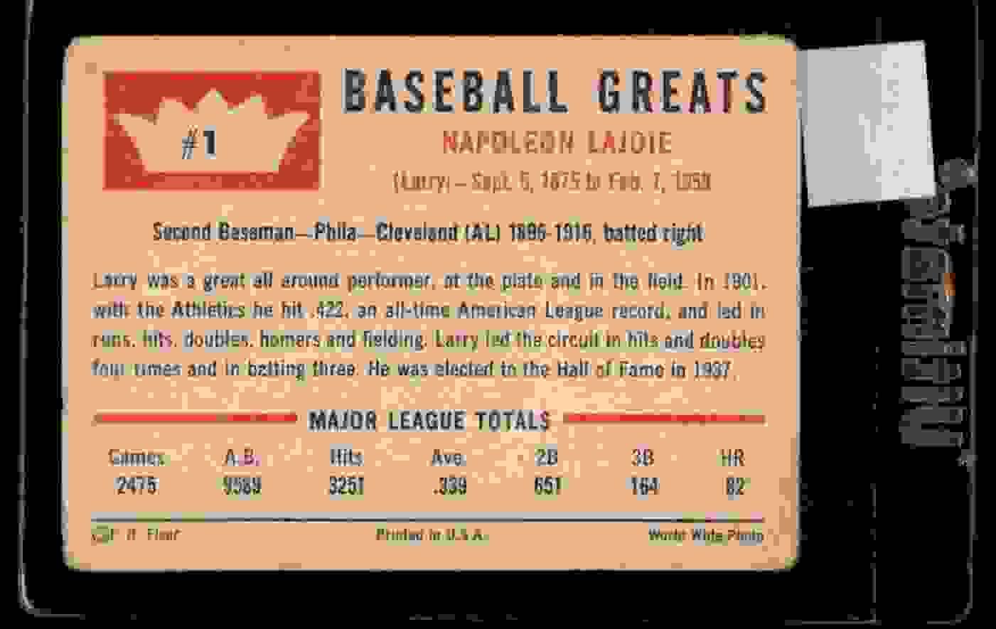 1960 Fleer Nap Lajoie #1 card back image