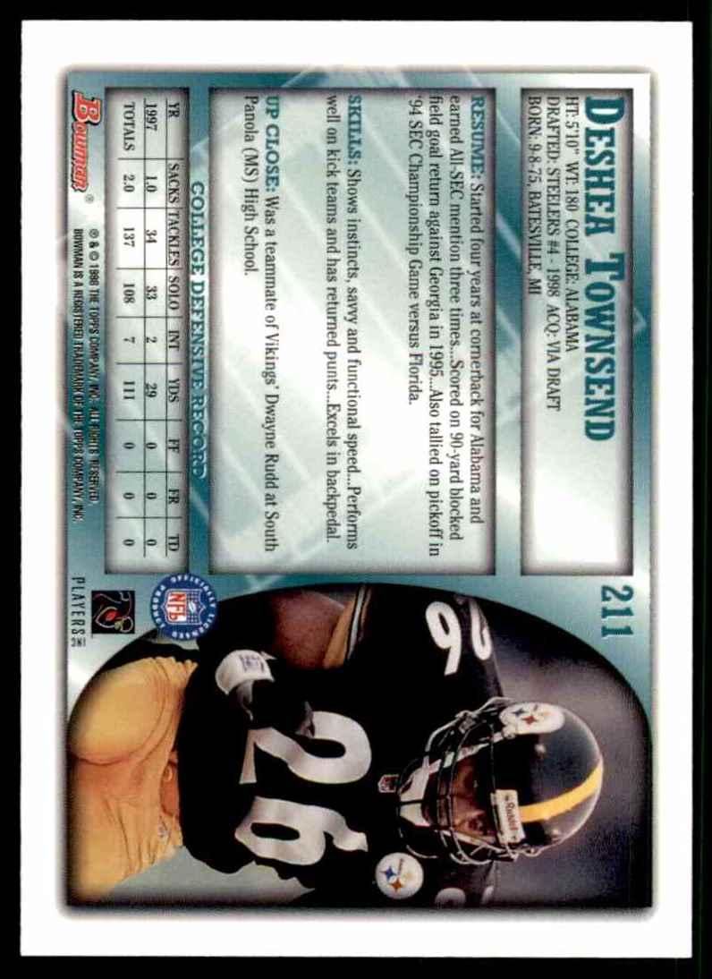 1998 Bowman Deshea Townsend #211 card back image