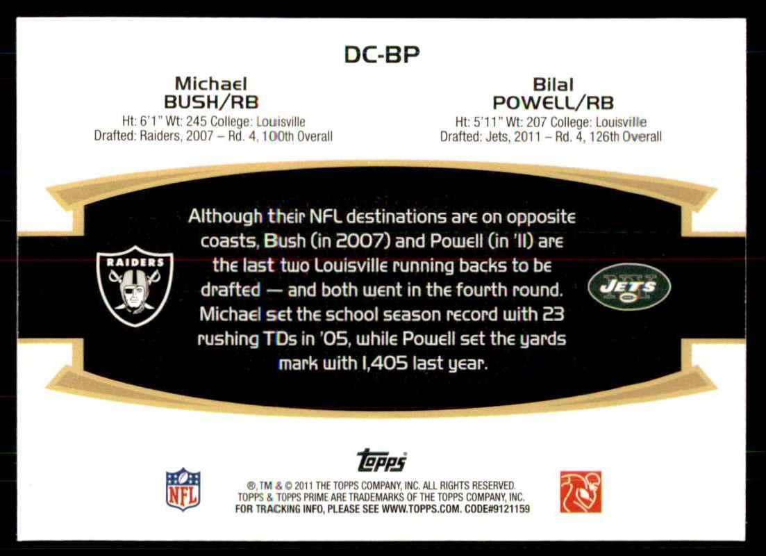 2011 Topps Prime Dual Silver Holofoil Michael Bush/Bilal Powell #BP card back image