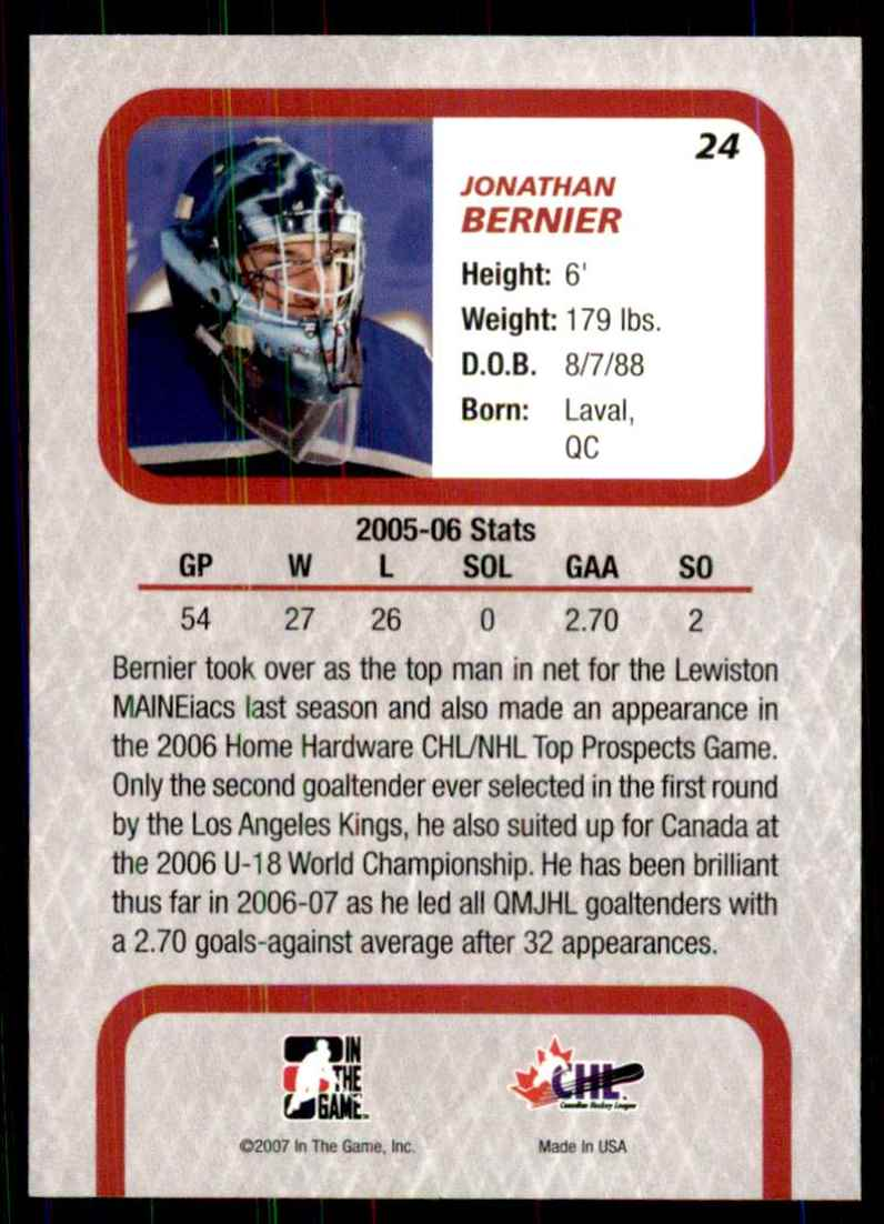 2006-07 Between The Pipes Jonathan Bernier #24 card back image