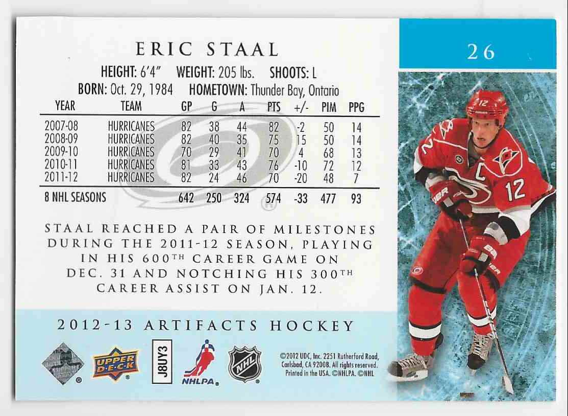 2012-13 Artifacts Gold Spectrum Eric Staal #26 card back image
