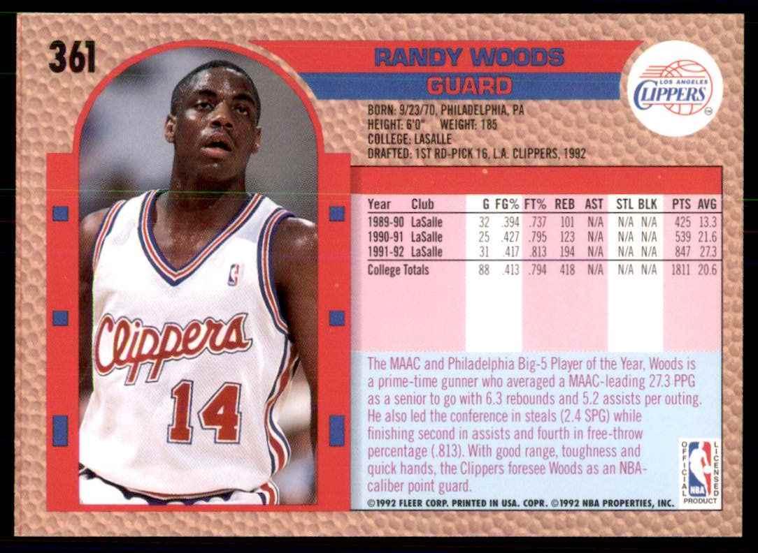 1992-93 Fleer Randy Woods RC #361 card back image