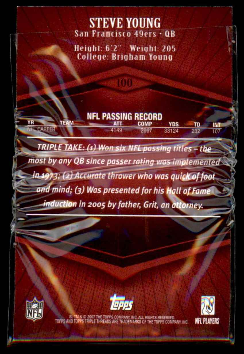 2007 Topps Triple Threads Steve Young #100 card back image