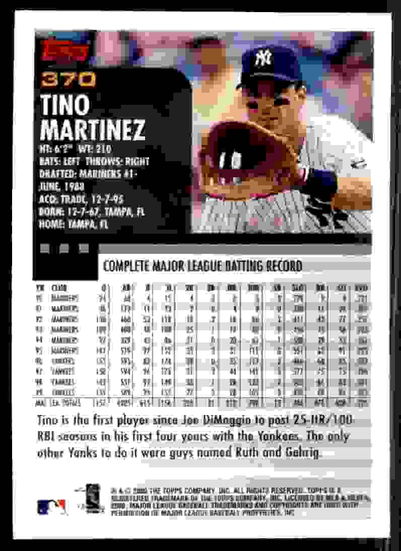 2000 Topps Tino Martinez #370 card back image