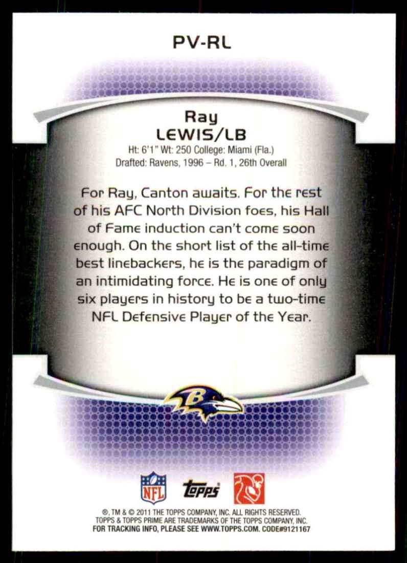 2011 Topps Prime Veteran Ray Lewis #PVRL card back image
