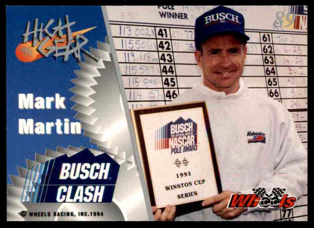 1994 Wheels High Gear Mark Martin #89 card back image