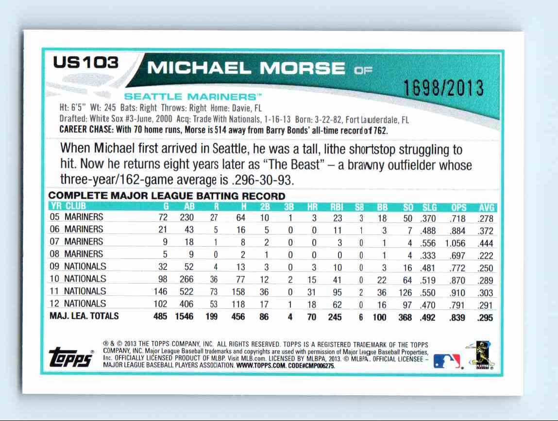 2013 Topps Update Gold Michael Morse #US103 card back image