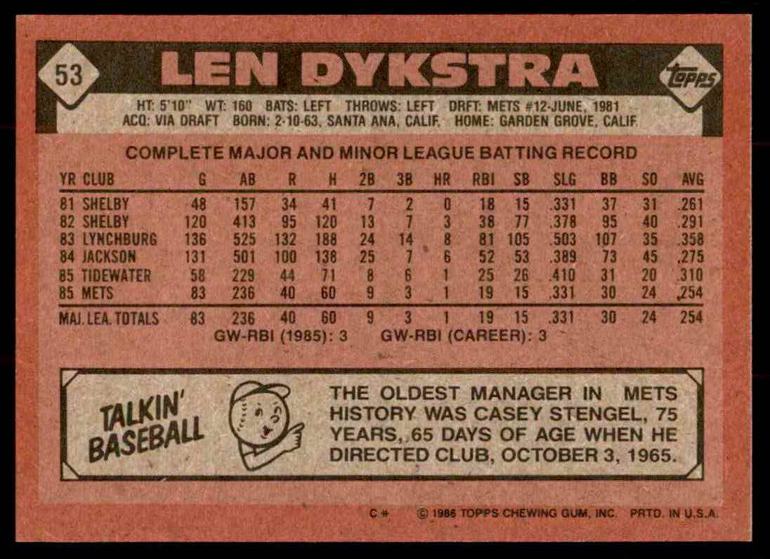 1986 Topps Len Dykstra #53 card back image