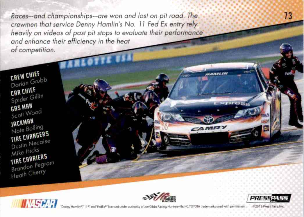 2014 Press Pass Denny Hamlin's #73 card back image