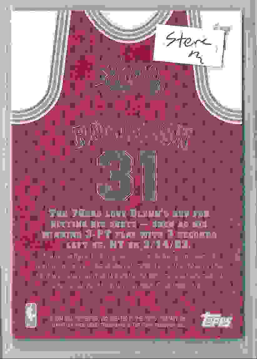 2003-04 Topps Jersey Edition Glenn Robinson #GR card back image