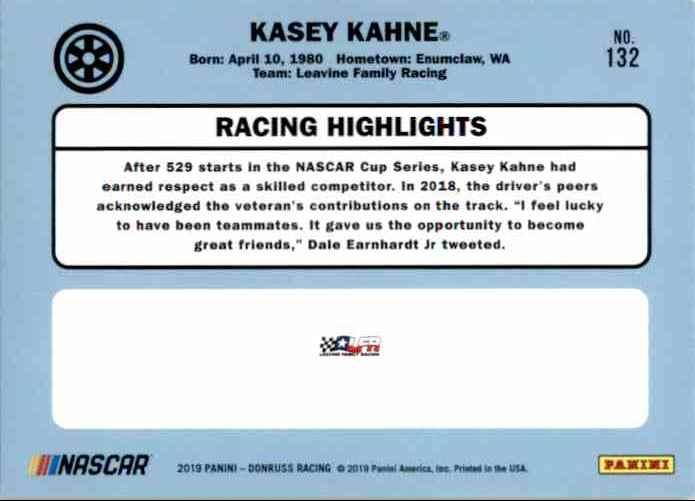 2019 Donruss Kasey Kahne #132 card back image