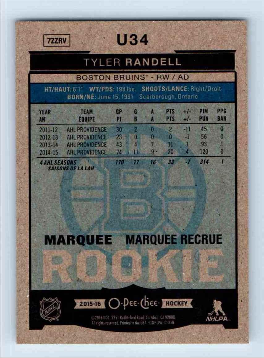 2015-16 O-Pee-Chee Platinum Update Rookie Tyler Randell #U34 card back image