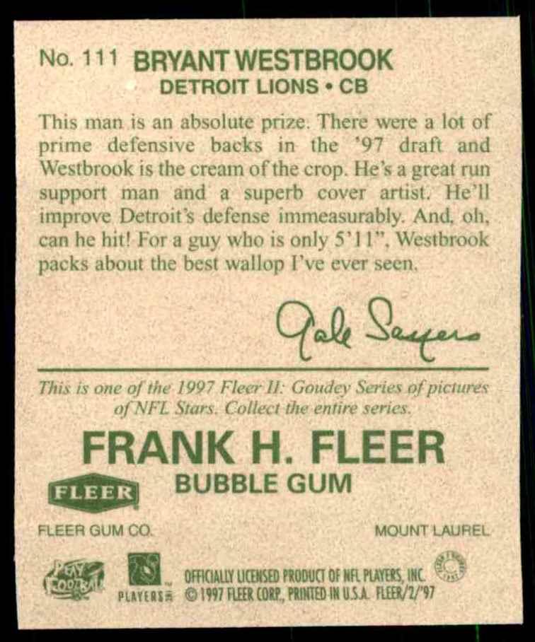1997 Fleer Goudey Bryant Westbrook #111 card back image