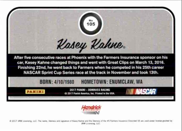 2017 Donruss Kasey Kahne #105 card back image