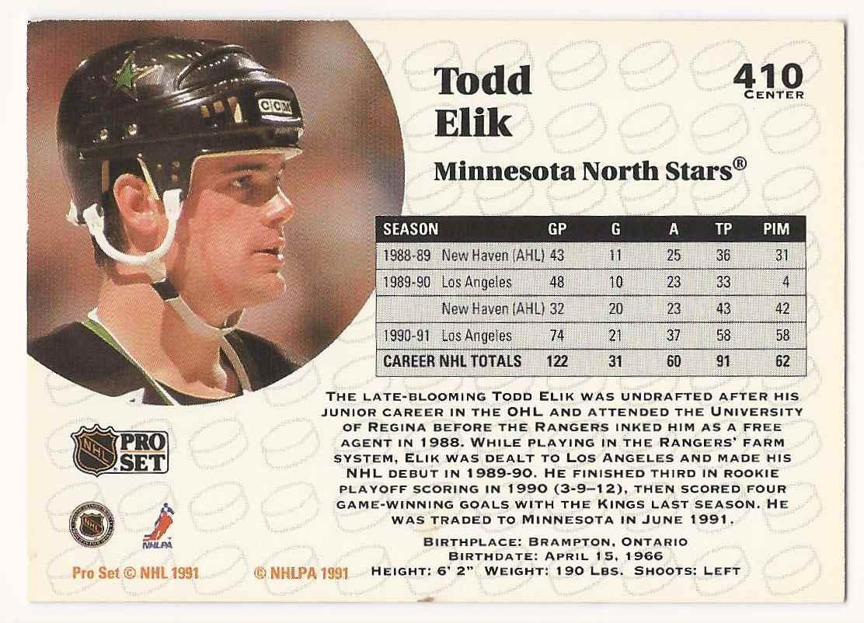 1991-92 Pro Set Todd Elik #410 card back image