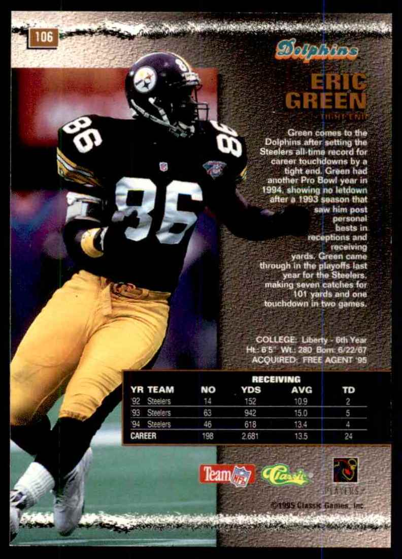 1995 Pro Line Silver Eric Green #106 card back image