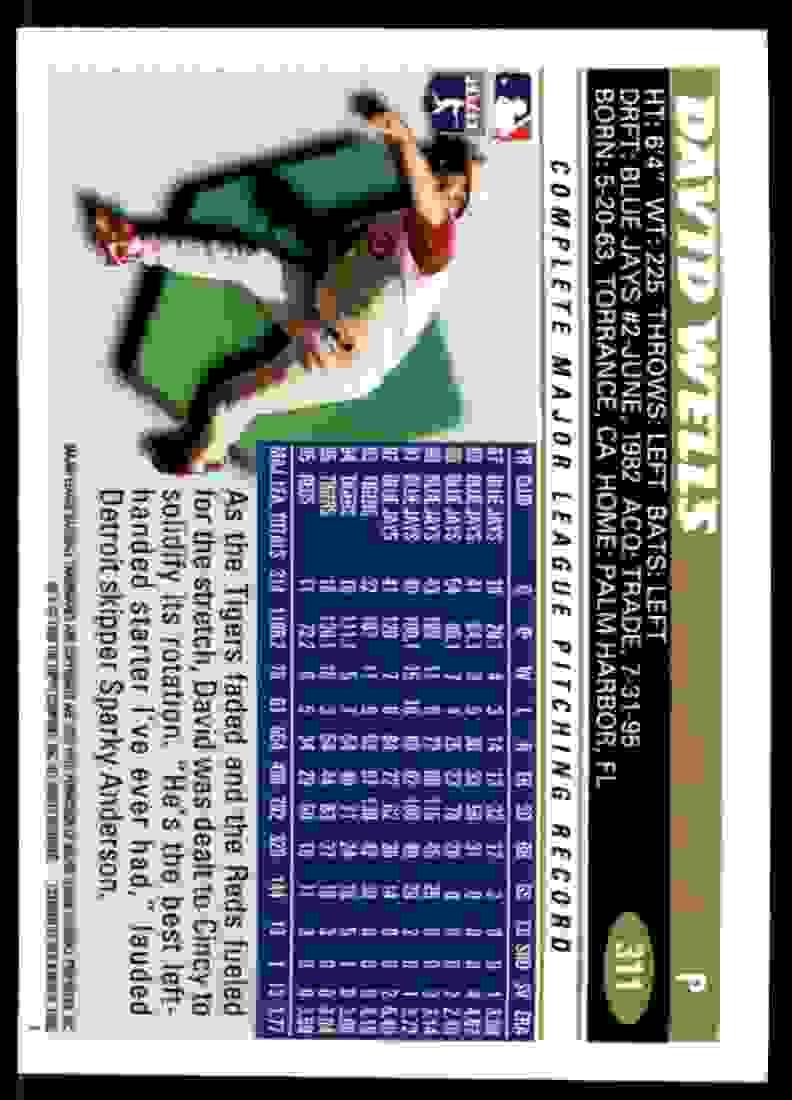 1996 Topps David Wells #311 card back image
