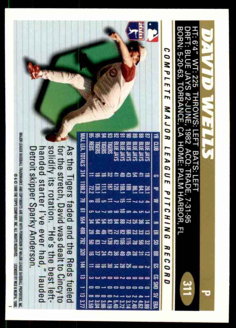 1996 Topps David Wells #311 card back image