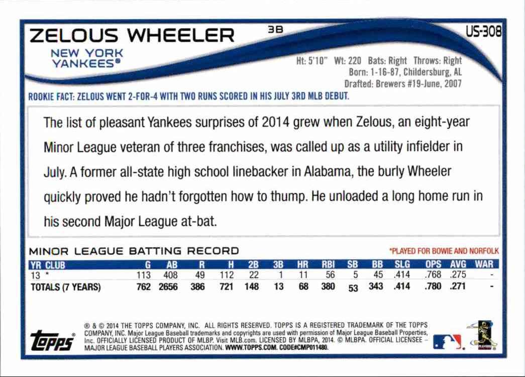 2014 Topps Update Zelous Wheeler #US-308 card back image