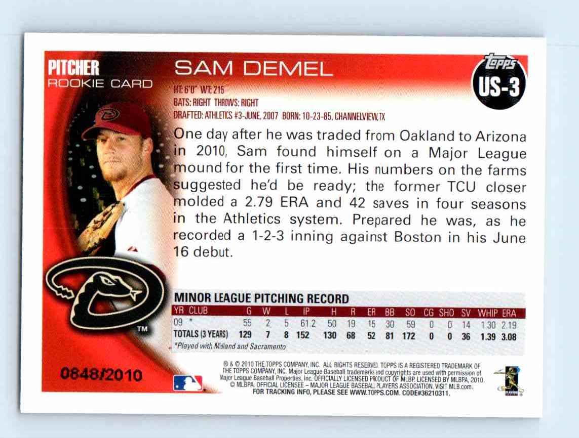 2010 Topps Update Gold Border Sam Demel #US-3 card back image