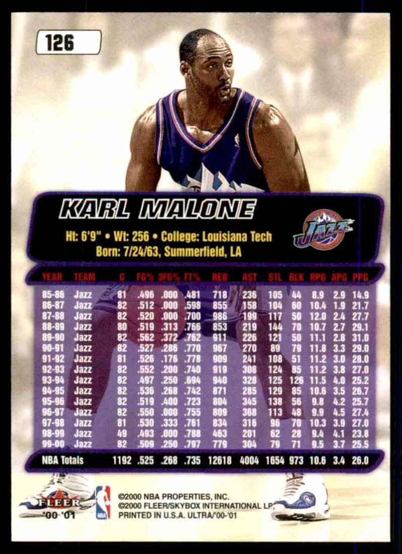 2000-01 Ultra Karl Malone #126 card back image