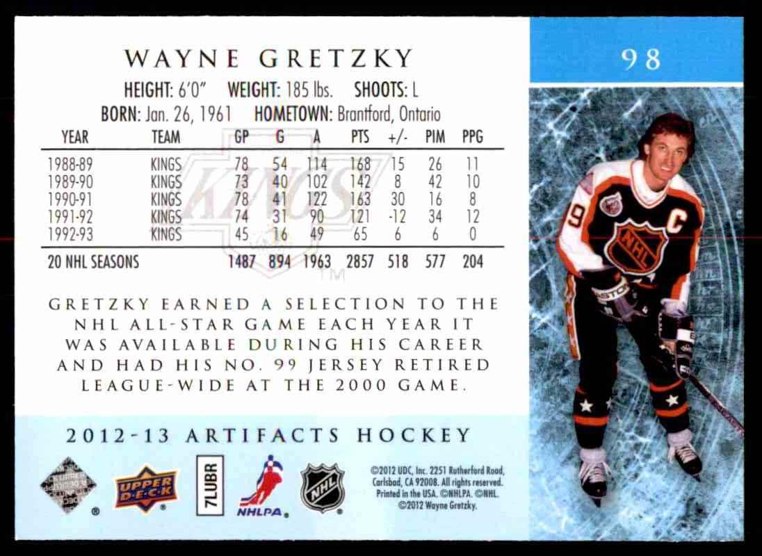 2012-13 Upper Deck Artifacts Wayne Gretzky #98 card back image
