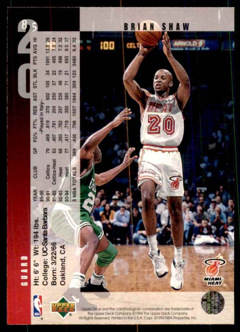 1994-95 Upper Deck Brian Shaw #85 card back image