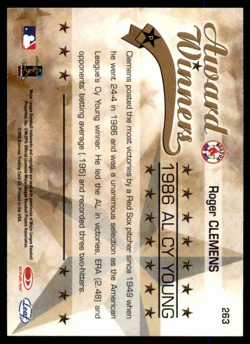 2002 Leaf Rookies & Stars Roger Clemens 86 Cy #263 card back image