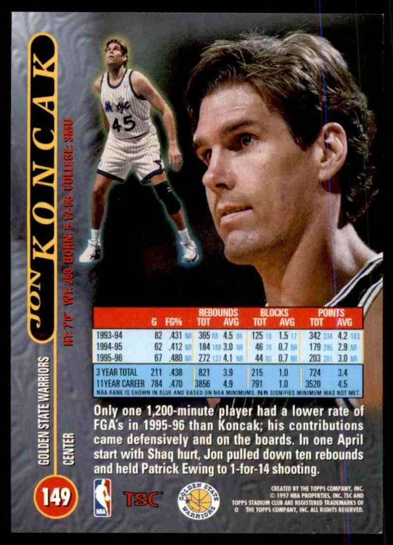 1996-97 Stadium Club Jon Koncak #149 card back image