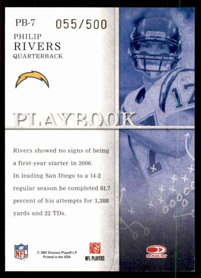 2007 Donruss Gridiron Gear Playbook Gold Philip Rivers #7 card back image